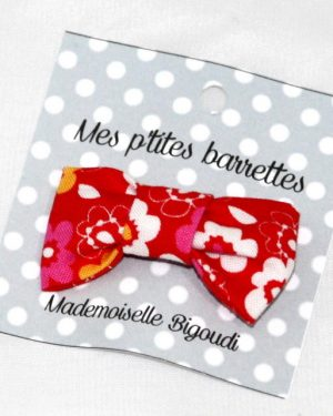 Mes petites barrettes de Mademoiselle Bigoudi/ pince crocodile fleurs rouges