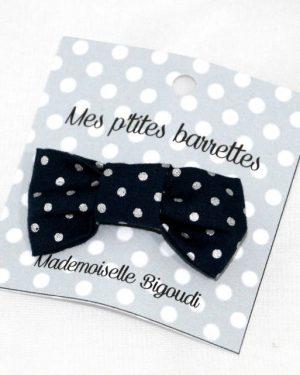 Mes petites barrettes de Mademoiselle Bigoudi/ pince crocodile bleu marine pois argent