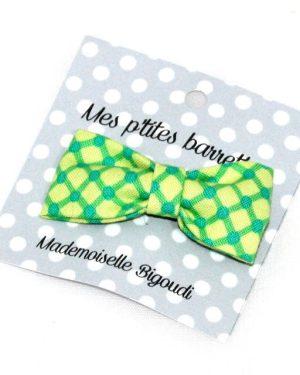 Mes petites barrettes de Mademoiselle Bigoudi/ pince crocodile carreaux verts