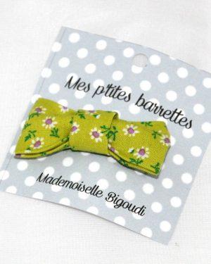 Mes petites barrettes de Mademoiselle Bigoudi/ pince crocodile Fleurettes vertes