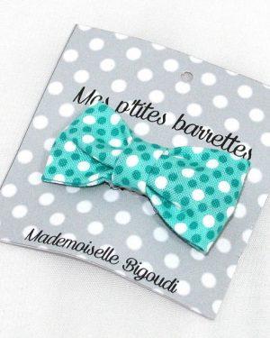 Mes petites barrettes de Mademoiselle Bigoudi/ pince crocodile pois bleus