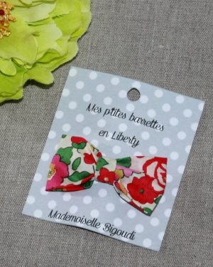 Barrette en Liberty Betsy rouge rose