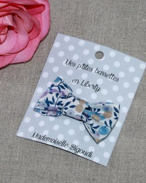 Barrette en Liberty Wiltshire multi bleu lilas