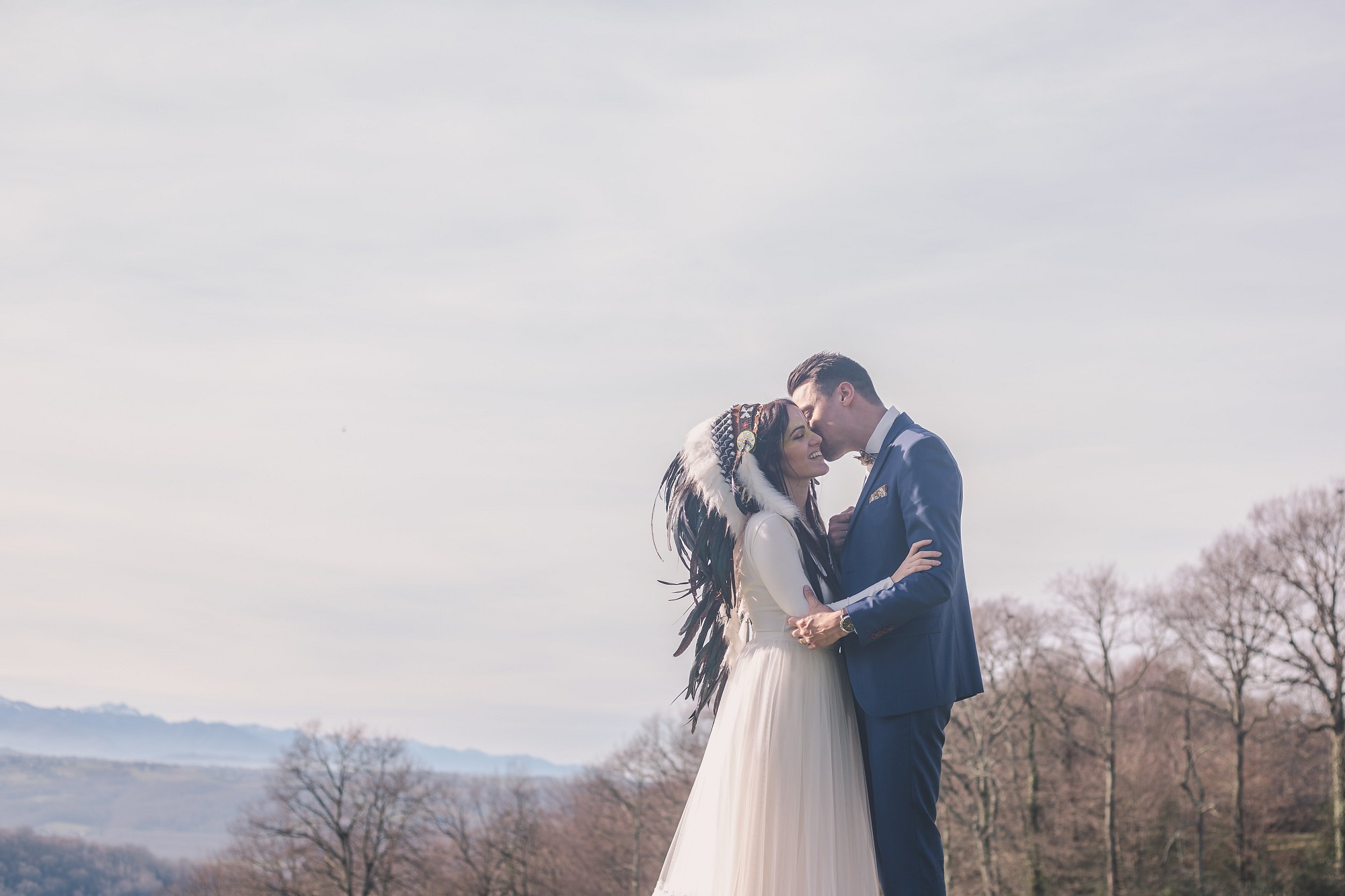 les derniers pas d'une cérémonies des voeux pour un mariage amérindien