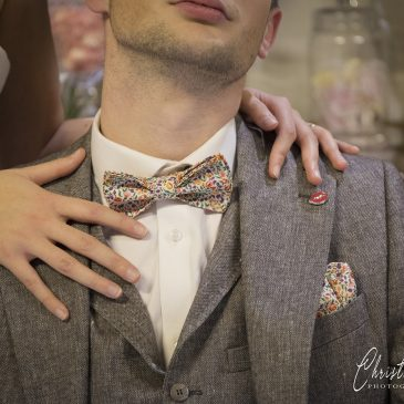 Mademoiselle Pap' et cie made in France noeud papillon bretelles liberty Mitsi hibiscus salon du mariage 2020