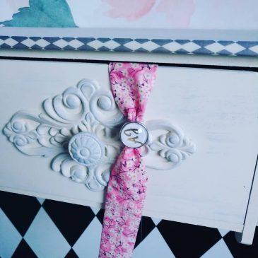 Bracelet à cabochon femme en Liberty Mitsi Valeria Orchidée sur commande