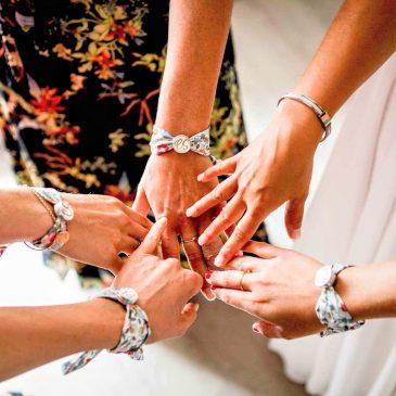 Bracelet à cabochon femme en Liberty Betsy Porcelaine