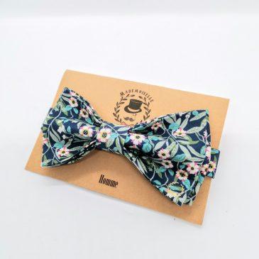 Nœud papillon pré-noué pointe pour homme Liberty Brighton and Blossom bleu vert