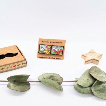 Boutons de manchettes carrés cuivre en Liberty Flower Tops Strawberries