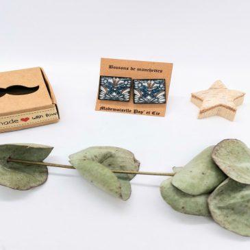 Boutons de manchettes carrés cuivre en Liberty Morris Butterfly bleu