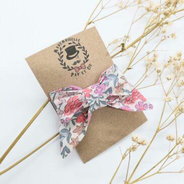 Barrette modèle «luxe» en Liberty Sweet May Fuchsia Pink